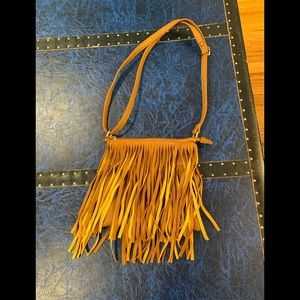 Girls leather purse with fringe fro Forever 21